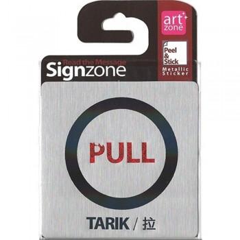 Signzone Peel & Stick Metallic Sticker - PULL (Item No: R01-01-PULLTRK)