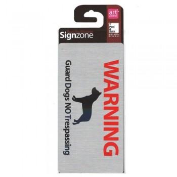 Signzone Peel & Stick Metallic Sticker - Guard Dogs NO Trespassing (Item No: R01-59)