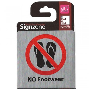 Signzone Peel & Stick Metallic Sticker - NO Footwear (Item No: R01-49)