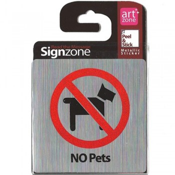 Signzone Peel & Stick Metallic Sticker - NO Pets (Item No: R01-46)