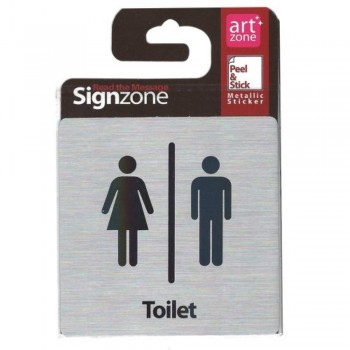 Signzone Peel & Stick Metallic Sticker - Toilet (Item No: R01-07)