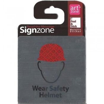 Signzone Peel & Stick Metallic Sticker - Wear Safety Helmet (Item No: R01-01WS HELMET)