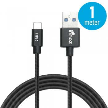 Innoz® InnoLink USB 3.1 to Type-C 5Gbps Super Speed Transfer & 5V/3A  High Speed Charging Cable - Black (1m)