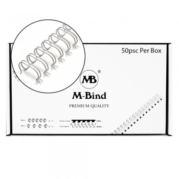 """Double Wire Bind 3:1 A4 - 5/8""""(16mm) X 34 Loops, 50 pcs/box, White"""